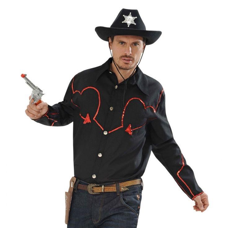 Toppers country overhemd met rode glitters voor heren  Zwart cowboy shirt met rode glitters. Zwart western overhemd met rode glitter afwerking. Deze cowboy blouse is geschikt voor volwassenen en is gemaakt van 100% polyester.  EUR 24.99  Meer informatie