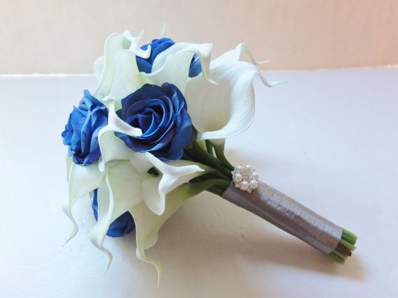 Bridesmaid Bouquets, White Calla Lily and Royal Blue Roses bridesmaid bouquet, Bridal Bouquet, wedding bouquet