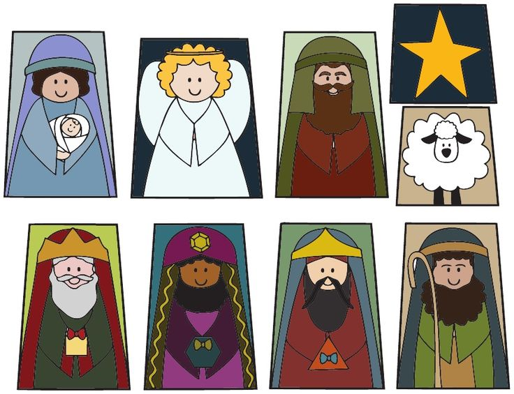 Printable finger puppet Christmas Nativity Set in Color or Black and White