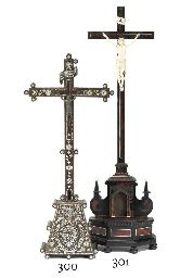 A JERUSALEM OLIVE-WOOD AND MOTHER-OF-PEARL INLAID RELIQUARY CROSS
