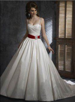 princesse bretelles spaghetti avec des robes de mariage de couleur écharpe rouge