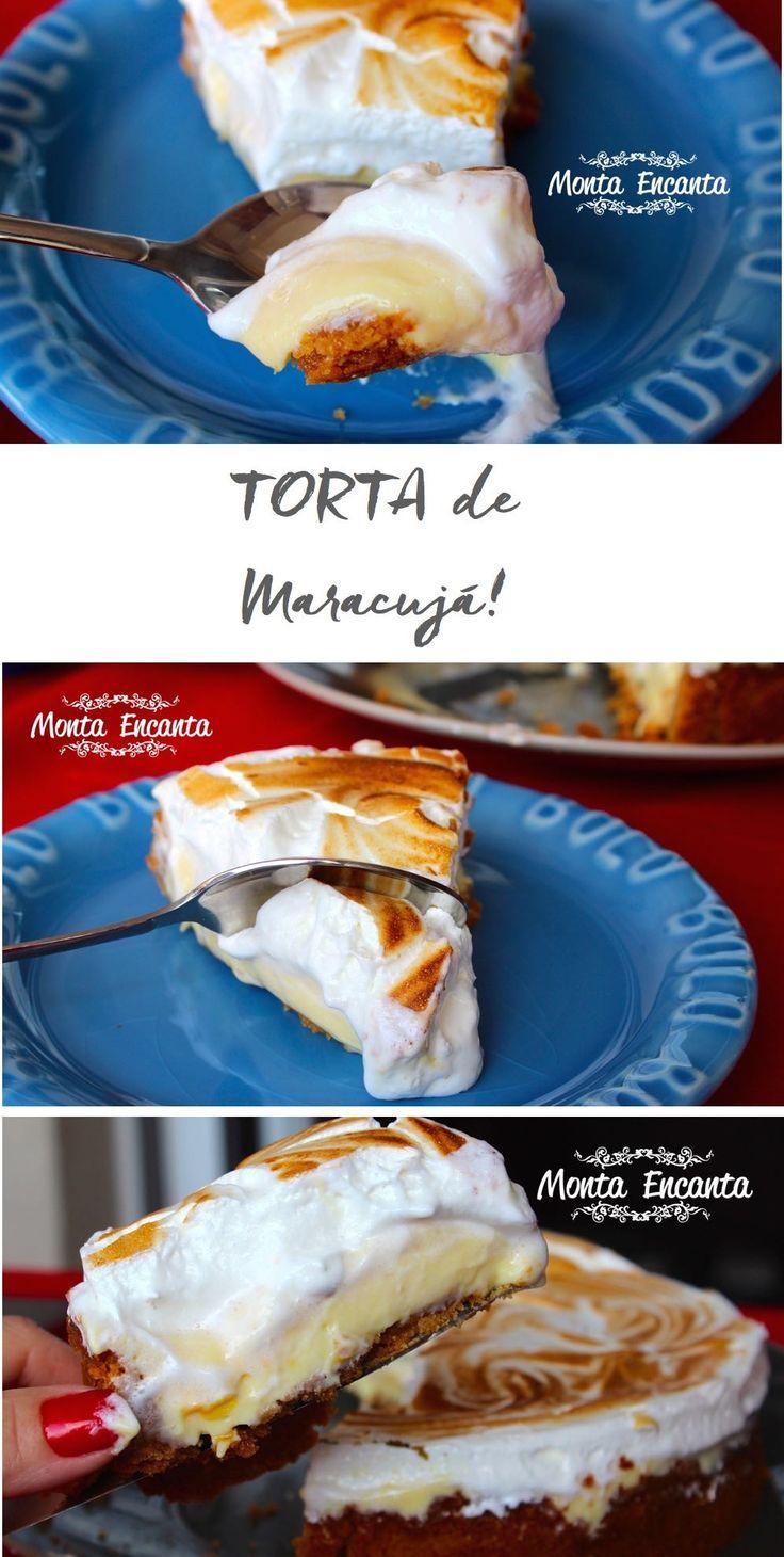 Torta de Maracujá, massa crocante saborosa, recheio cremoso de maracujá, coberto por um marshmallow alto macio que desmancha na boca...