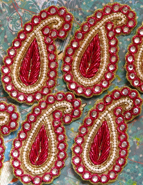 Sew on Beaded applique trim paisleyRed velvet pearl by SilkRoute, $4.50