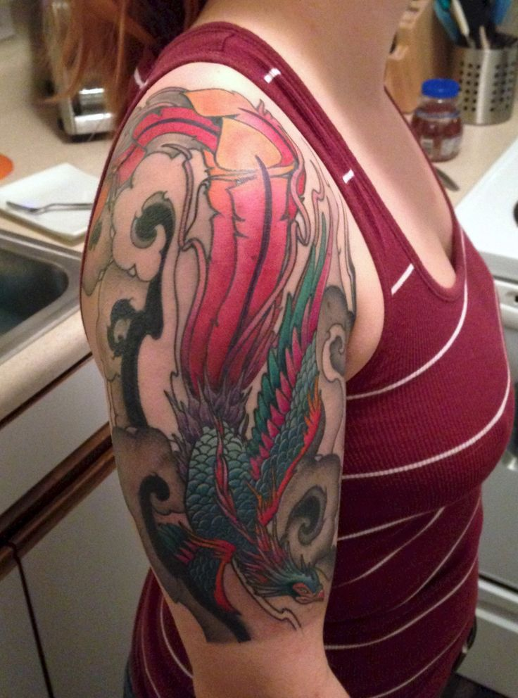 Colorful Phoenix, half sleeve Sleeve tattoos, Sleeve