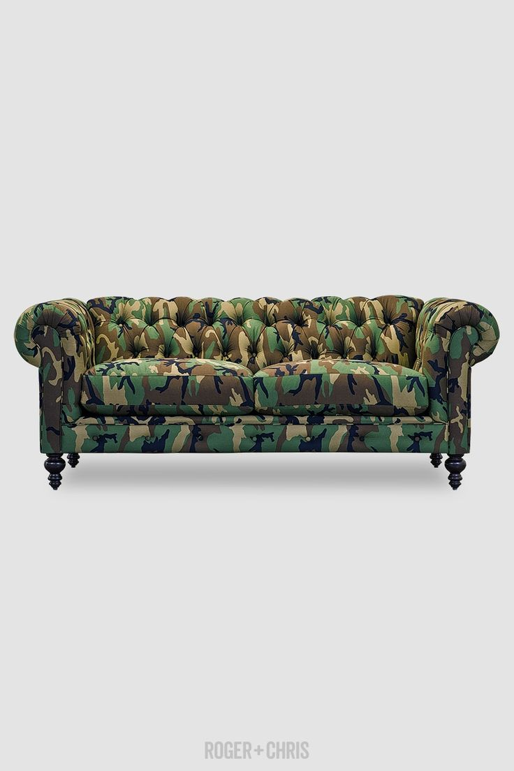 Leather Sleeper Sofa Army camo Chesterfield sofa made in U S A