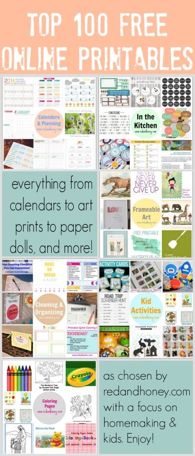 100 Fantastic Free Printables (Everything from Calendars to Art Prints to Paper Dolls) - AMAZING resource!!!