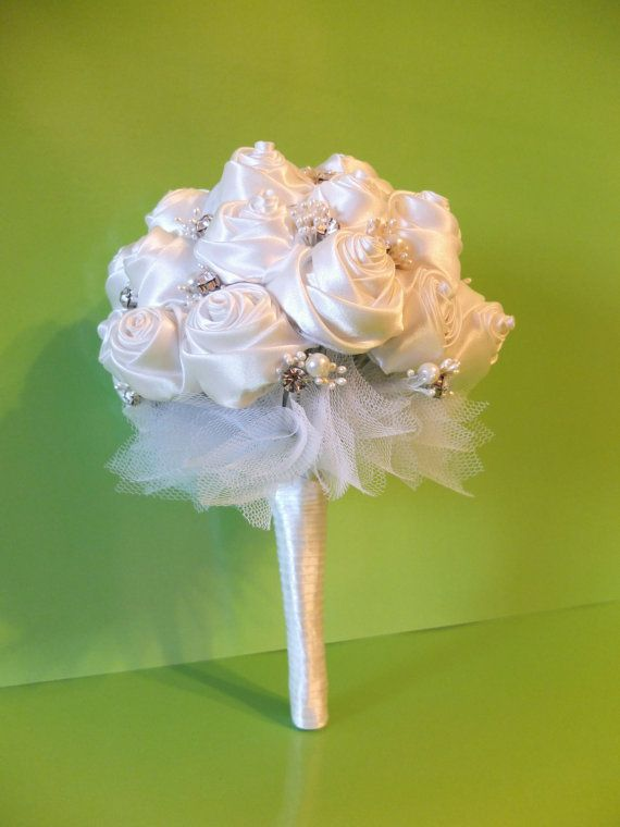 Handmade Ribbon Rose Bouquet White Rose by LoveMimosaFleur on Etsy
