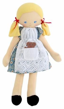 Oh so sweet Goldilocks doll! Complete with little bear in her front pocket!   Alimrose Designs Goldilocks Dolls    Price: $47.95    Description:    Sweet and irresistible Goldilocks doll by Alimrose Designs comes complete with a little bear in her front pocket - destined to become a treasured favourite!