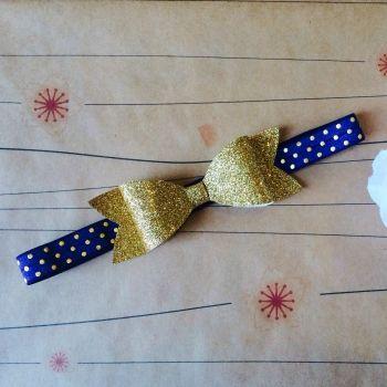Cheeki Babi   Accessories   Hair Accessories   GOLD GLITTER BOW with navy headband - Handmade Emporium