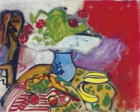 Still life of fruit and flowers on a table - Robert De Niro, Sr.