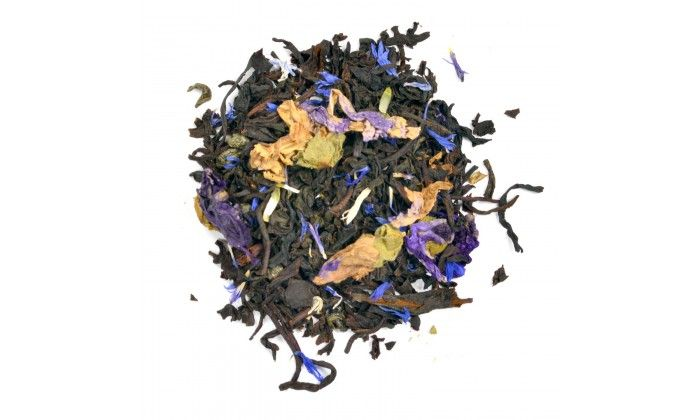 Angel's Dream: A wonderful tea with maple sweetness, blackberry pungancy, full flavoured Assam and a mystery green tea.   Ingredients:  Assam tea, cornflowers,mallow pedals and natural flavours.  This loose leaf tea is high in antioxidents and medium caffeine level