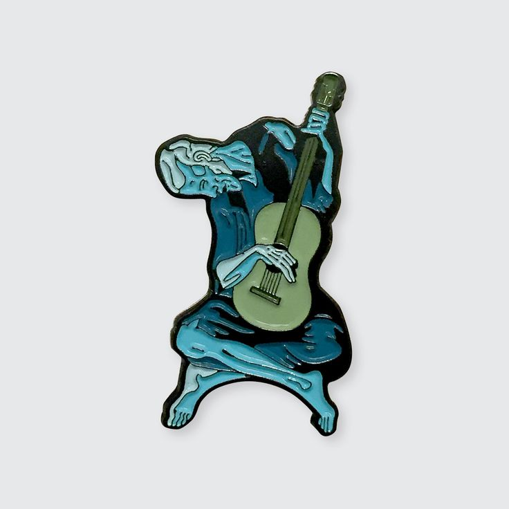 """1.68"""" x 0.95"""" Soft Enamel Pin Single Posted Rubber Clasp Inspired by """"The Old Guitarist"""" by Pablo Picasso---The Old Guitarist is an oil painting by Pablo Picasso created late 1903 – early 1904. It depicts an old, blind, haggard man with threadbare clothing weakly hunched over his guitar, playing in the streets of Barcelona, Spain. It is currently on display in the Art Institute of Chicago as part of the Helen Birch Bartlett Memorial Collection...."""