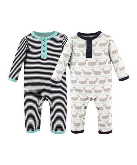 Hudson Baby Gray Whale & Black Stripe Playsuit Set - Infant | zulily