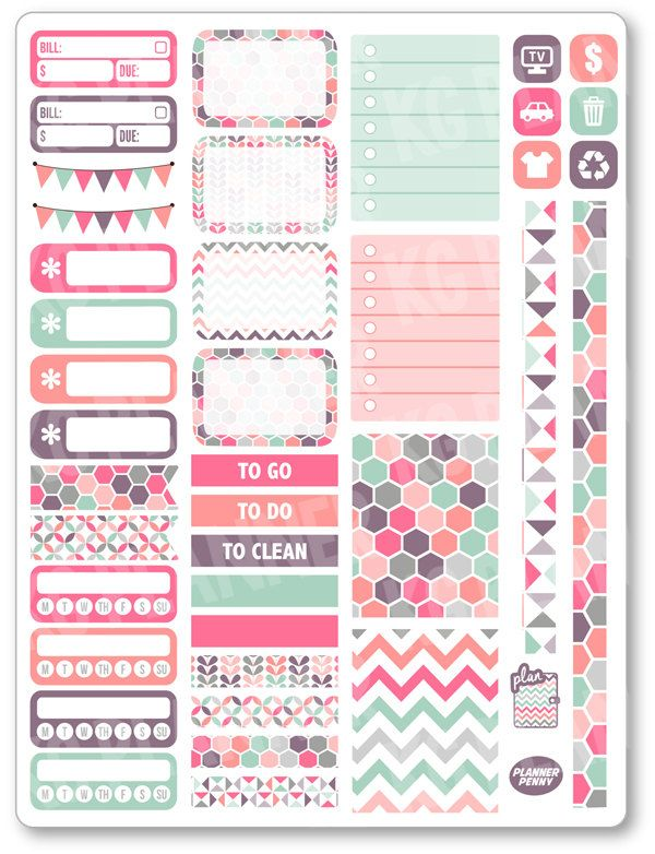 Pastels Functional Kit Planner Stickers for Erin by PlannerPenny