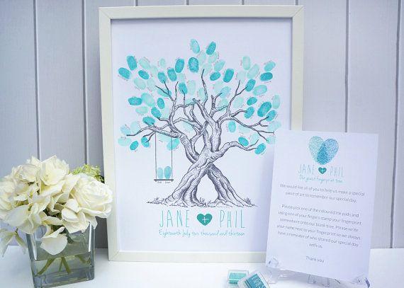 Árbol de huellas dactilares personalizado boda - con swing