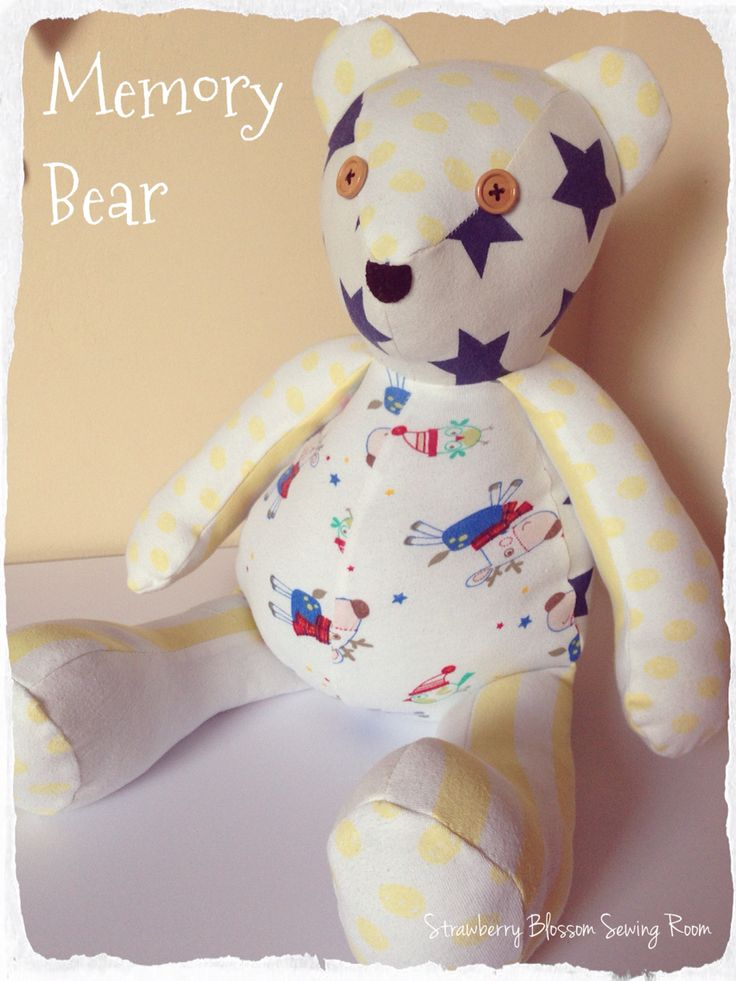 Happy Sunday everyone! It's now school half term holidays here in Norfolk and I'll be gearing up for two weeks of entertaining my three children. I'll apologise in advance if my page is quieter than normal over the next two weeks.  I thought I'd show you baby Florences' memory bear this morning, made with some of her old baby clothes. It turned out rather well I thought and because it's made using stretchy clothing materials it's a lovely soft and squishy bear for her to cuddle.