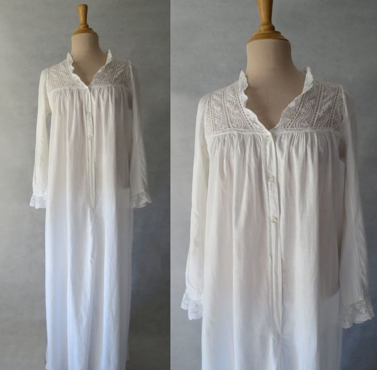 Victorian, Edwardian Nightgown With Lace Yoke by LouisaAmeliaJane on Etsy