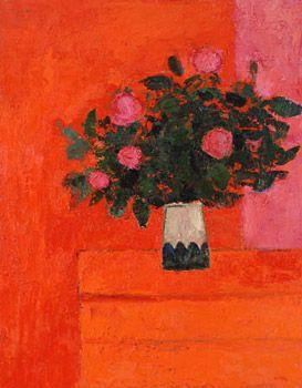 Bouquet de camélias au coffre orange ⋅ 2003 — 150 × 110 cm, Bernard Cathelin - official website