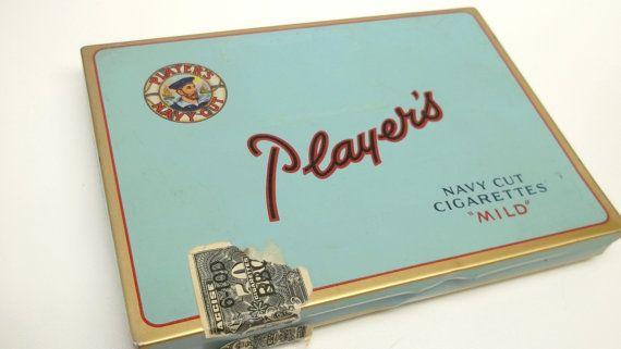 Vintage Players Navy Cut Cigarettes Metal tin box by recupefashionnstuff, $12.50