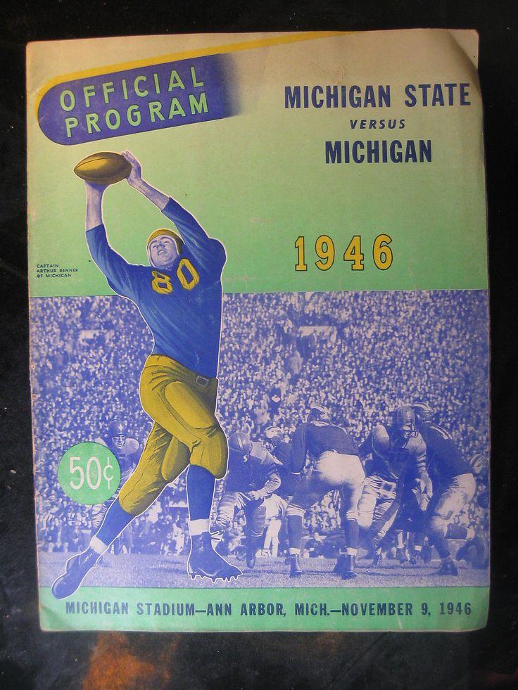Vintage Nov 9, 1946 Michigan State vs Michigan Football Program Ann Arbor | eBay