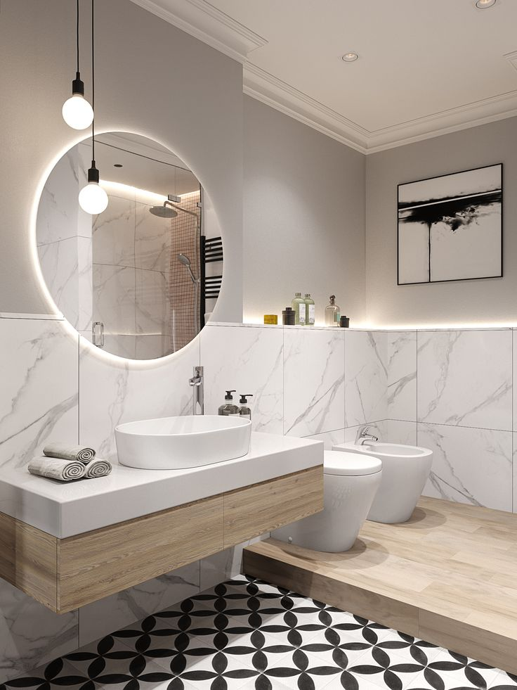 Bold floor breaks noble marble effect on walls, great with wood – BATH