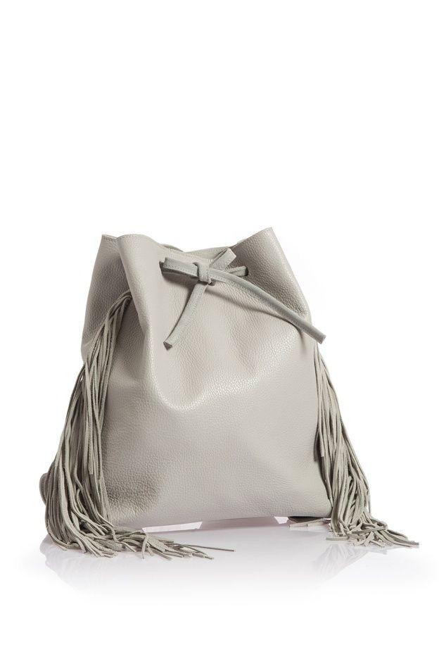 Artemis fringe backpack light grey WalkingStick Collection by HappyM
