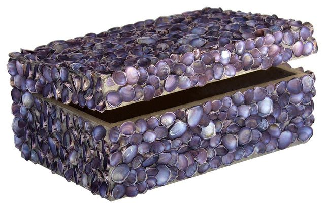 Oyster Bay Coastal Blue Limpet Shell Decorative Box by Karen Robertson beach-style-decorative-boxes