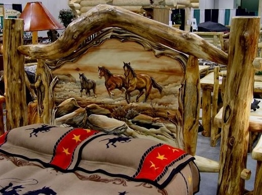 Log Bed with Hand Carved Panel - Running Horse Scene - Item #BR04047 - Each Panel is Custom Carved Just For You! - Posts & Foot Board Carvings Available - We Accept Completely Customized Scenes of Your Chosing