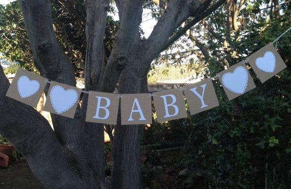 Burlap BABY Banner Shower Decoration by CarbonArtWorks on Etsy