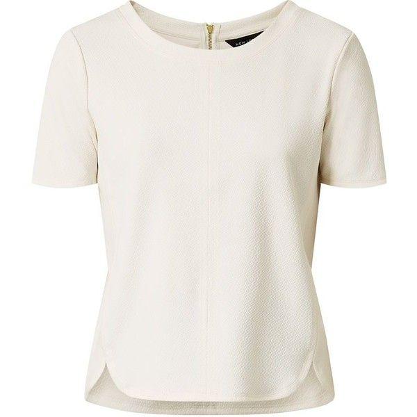 Cream Textured Scallop Hem T-Shirt found on Polyvore