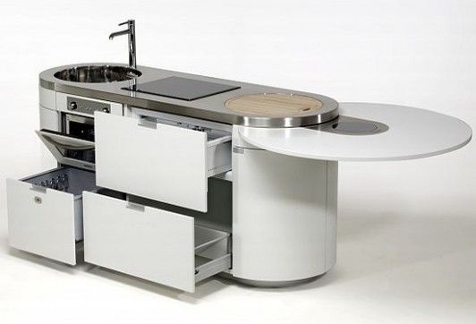 Space Saving Ideas For Tiny Apartments - love the retractable circular counter extension