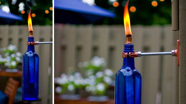Turn a Used Wine Bottle into a Stylish, Mosquito-Repelling Torch: Diy Ideas, Bottle Crafts, Bottle Lamps, Beer Bottle, Wine Bottle Torches, Recycled Wine Bottle, Tiki Torches, Diy Projects, Old Wine Bottle