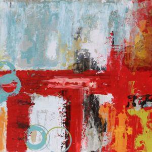 abstracto rojo y multicolor