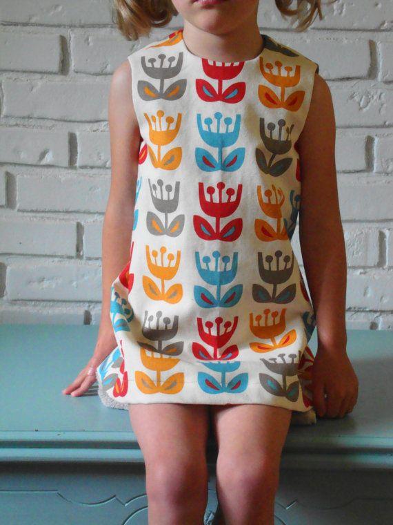 ingrid dress. outside oslo tulips. retro 1970. mod vintage inspired style. handmade by little ticket on etsy.
