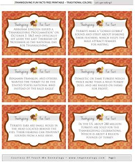 30 Thanksgiving Fun Facts - Free Printables for Thanksgiving Dinner ~ Teach Me Genealogy