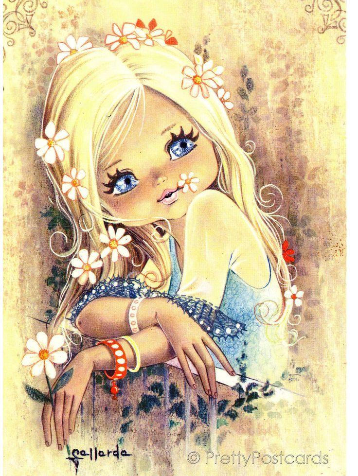 Открытка с изображением девочек, открытку днем