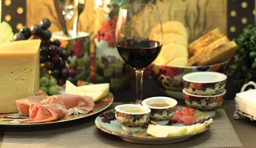 Cheese and wine with our TUSCANY GRAPES porcelain design. yumm!