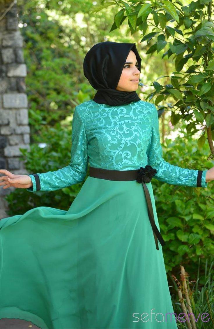 2014 Yazlık ZRF Tesettür Elbise 9021-06 Koyu Yeşil