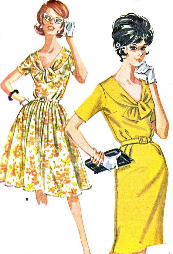 1960s Dress Pattern McCalls 6282 Tie Collar Full Skirt or Sheath Dress Womens Vintage Sewing Pattern Plus Size Bust 40