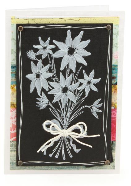 MT587 Chalky Bunch of Flowers Card