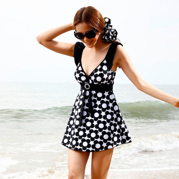 2012 plus size swimwear hot spring fashion one-piece dress swimwear female d cup swimwear 1995 $30.03