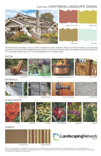 Landscape Design Guides.  Each sheet focuses on a particular landscape style and provides a color palette, décor suggestions, a list of materials, plant suggestions and outdoor fabrics.