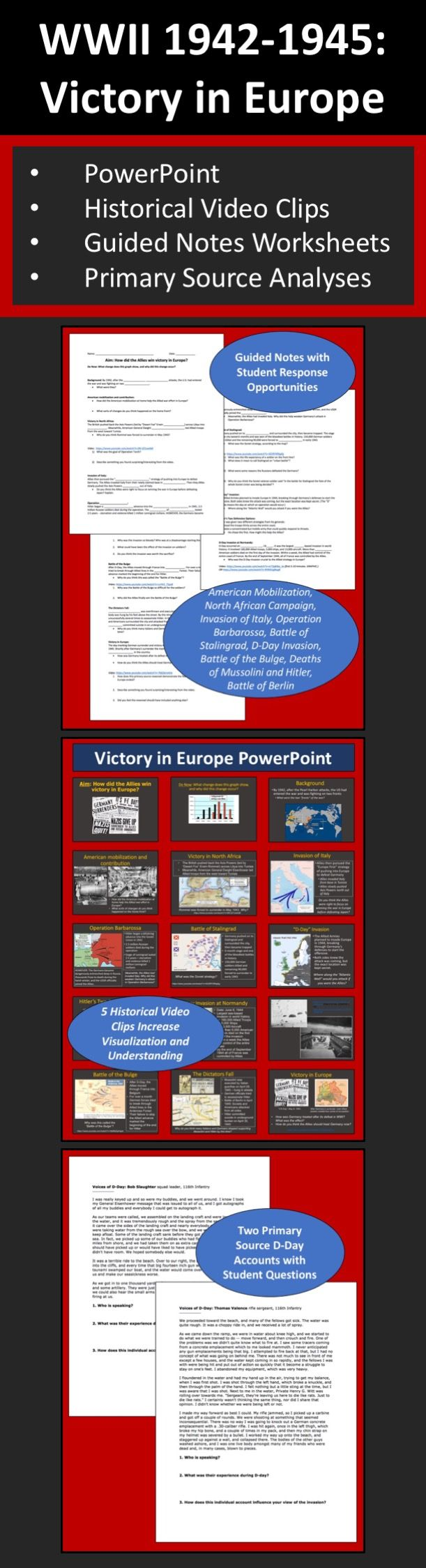 Students learn about the key events, battles, and strategies from 1942-1945 that helped the Allied Powers win victory in Europe during World War Two. Includes a PowerPoint, five historical video clips, guided notes worksheets, and two primary source analysis activities. Content covered includes: American mobilization, the North African Campaign, Allied Invasion of Italy, Operation Barbarossa and Siege of Leningrad, Battle of Stalingrad, D-Day Invasion, Battle of the Bulge, Deaths of…