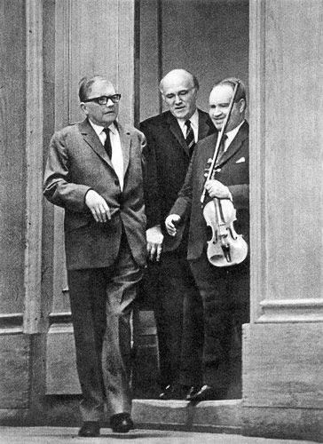 Dmitri Dmitriyevich Shostakovich (1906-1975) with violinist David Oistrakh. It was to Oistrakh whom Shostakovich dedicated all of his violin works, including two concerti and a sonata.