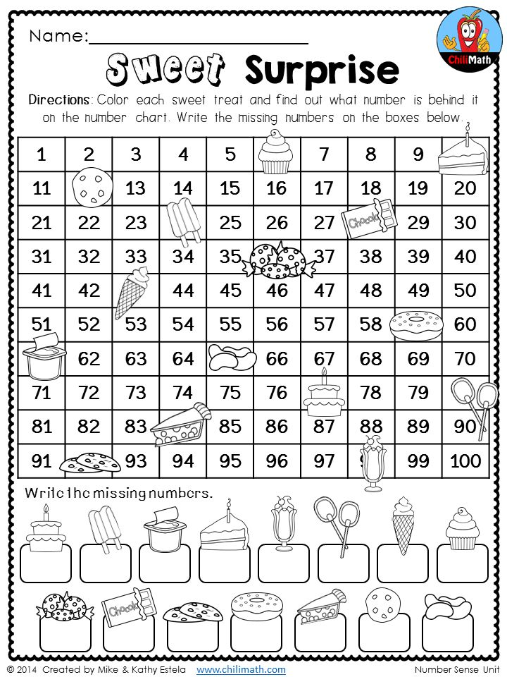 Sweet Surprise! Find out what number is behind each sweet treat on the 100 chart. More engaging and fun NO PREP printables to go with your Number Sense unit! $