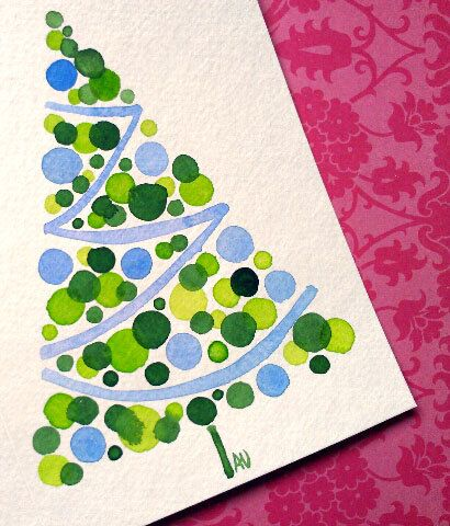 Articles similaires à Blue Christmas Tree Card Original Watercolour Modern Holiday Circles sur Etsy
