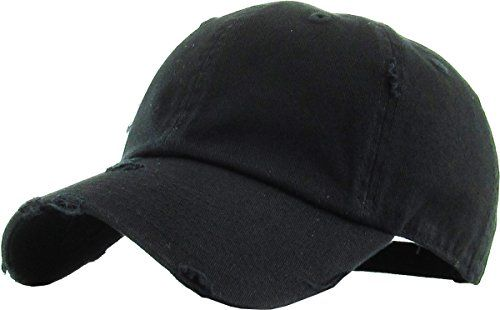 728acd16161 KBE-VINTAGE BLK Vintage Washed Cotton Dad Hat Baseball Cap Polo Style