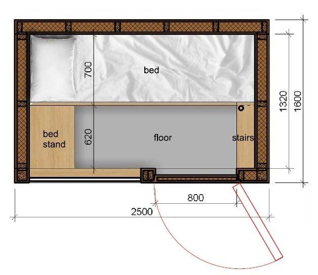 Pod Hotel Room Size