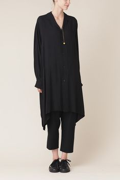 Y's by Yohji Yamamoto Oversized Shirt Dress (Black)