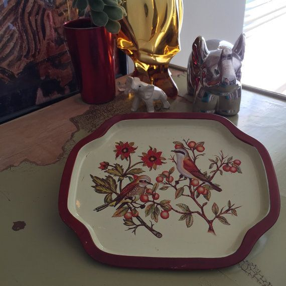 Vintage Tin Jewelry Tray  Sparrows on by AestheticallyHipster